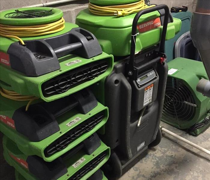 Servpro water damage drying equipment