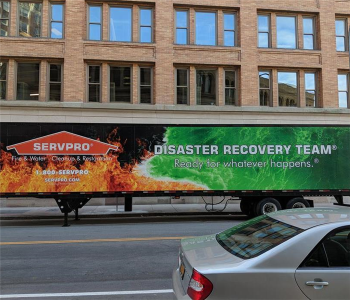 SERVPRO Truck outside Commercial Building
